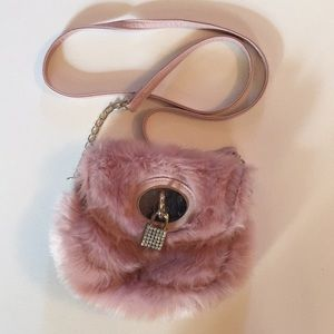 """Purse. Faux fur with 50"""" strap from Clair's. Pink"""